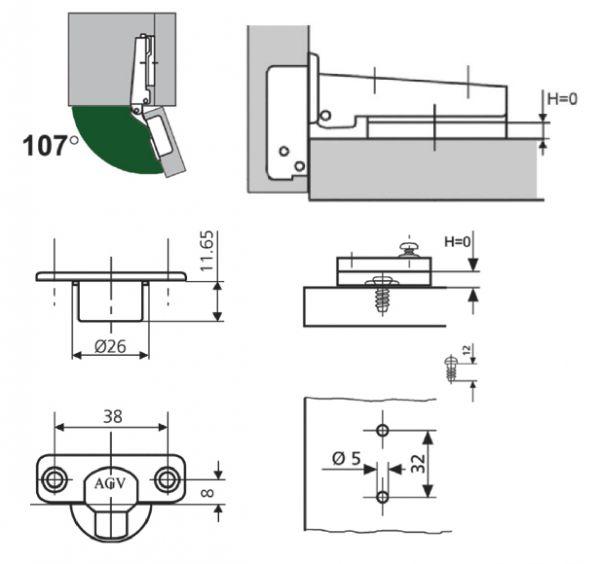 Петля мебельная накладная AGV